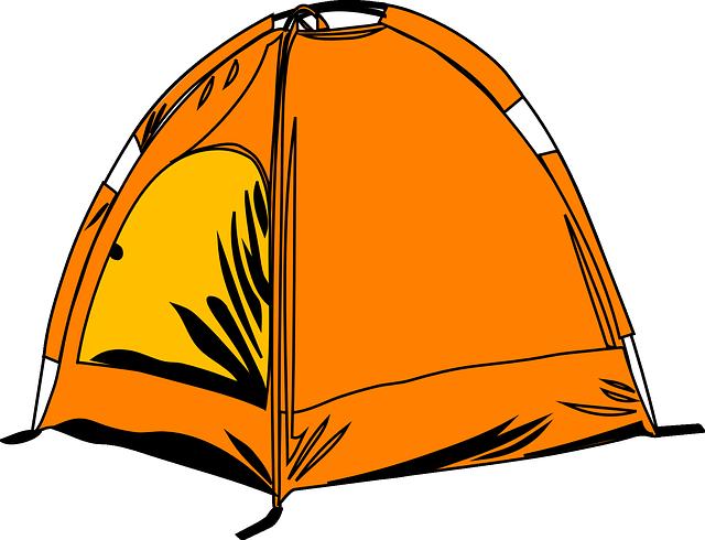 oranžový dětský stan